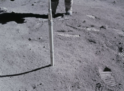 This NASA photo shows the thin layer of dust on the moon.  (public domain image)