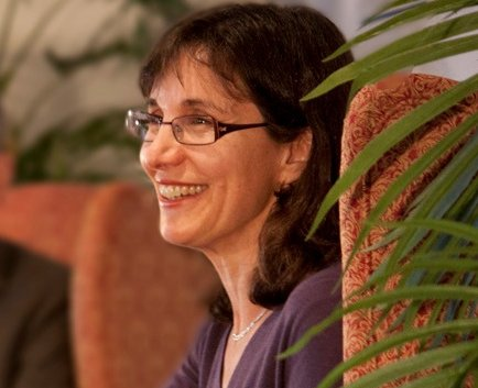 This is  Rosaria Champagne Butterfield during an interview with Marvin Olasky of World Magazine.  (click for credit)
