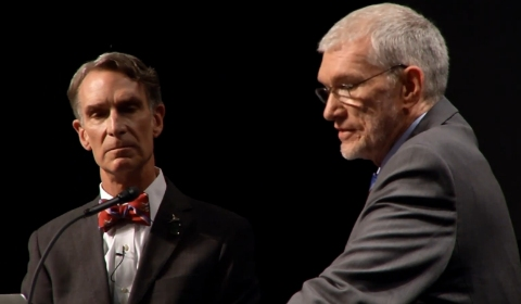 Bill Nye (left) and Ken Ham (right) during the debate.