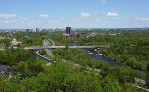 This photo shows the  Rideau river, which runs through the Rideau Valley, and the Rideau canal,  which connects Ottawa to Kingston.  (click for credit)
