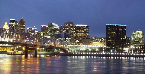The Cincinnati skyline at dusk (click for credit)
