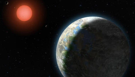 This NASA image represents an artist's conception of what the first four planets around Gliese 581 were thought to look like in 2010.  (click for larger version)