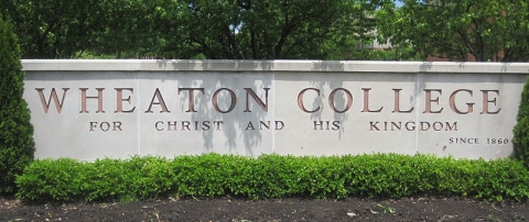 "This sign contains the English translation of Wheaton College's motto, ""Christo et Regno Ejus.""  (click for credit)"