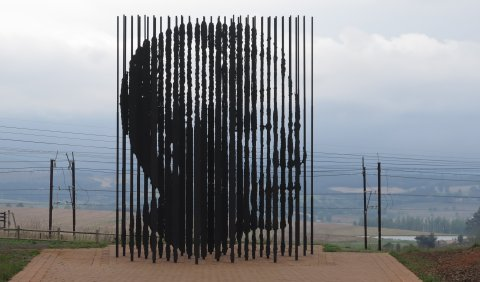 This sculpture marks the approximate location where Nelson Mandela was captured by police on August 5, 1962.  (copyright Kathleen Wile, click for larger image)