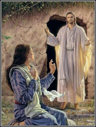 One artist's conception of Mary Magdalen seeing the risen Christ.  (click for credit)