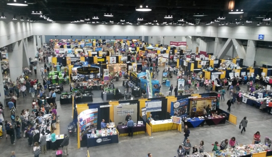 An overhead view of half the vendor hall at the 2015 Midwest Homeschool Convention