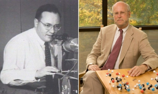 Nobel laureate Dr. Arthur Leonard Schawlow (left) and likely future Nobel laureate Dr. Henry F. Schaefer, III (right).