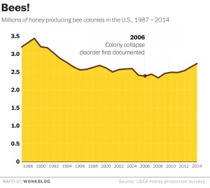 This graph shows the number of honeybee colonies in the U.S. each year.  (click for source)