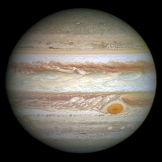 An image of Jupiter as captured by the Hubble Space Telescope.