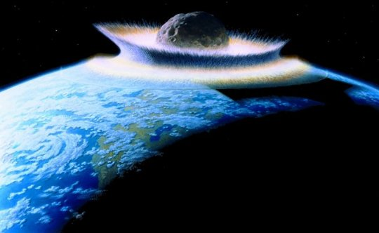 Artist's conception of a large asteroid hitting the earth (click for credit)