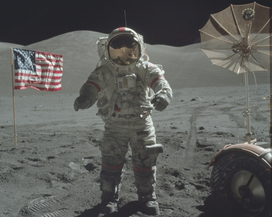 The astronaut in this Apollo 17 photo was probably harmed by the radiation to which he was exposed on his voyage.