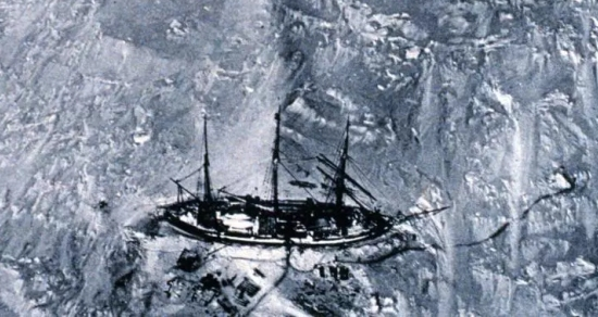A German ship (The Gauss) in Antarctic Ice, in Antarctic Ice, as seen from a balloon in 1901. (credit: National Oceanic and Atmospheric Administration/Department of Commerce)