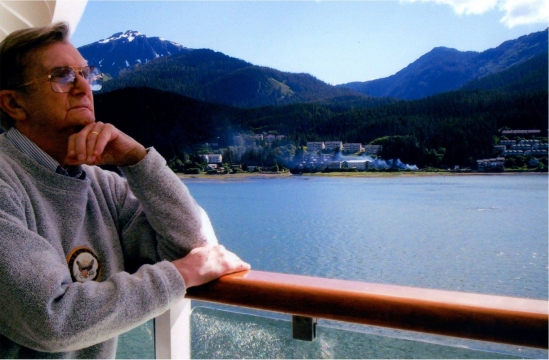 My dad on a cruise ship, where he loved to feel the rolling deck under his feet.